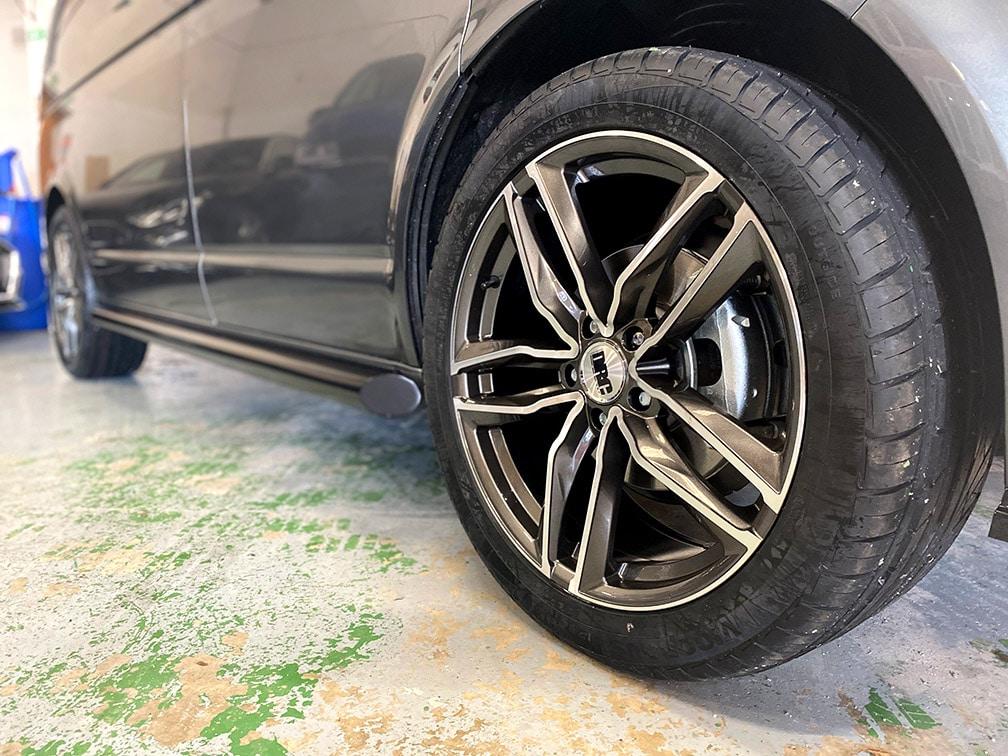 Alloy wheel on a VW Transporter